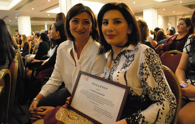 Tsovinar Harutyunyan, UNFPA (left), and Hasmik Khachatryan, entrepreneur and GBV-survivor